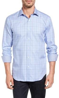 Men's Bugatchi Shaped Fit Check Sport Shirt $149 thestylecure.com