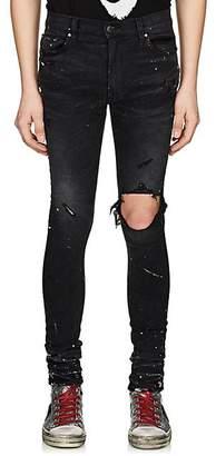 Amiri Men's Broken Paint Splatter Jeans - Black