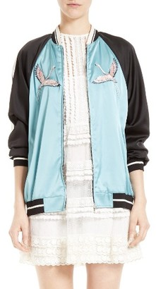 Women's Red Valentino Sunset Embroidered Satin Bomber $1,295 thestylecure.com