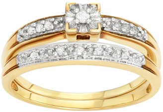 Sterling Silver 1/10 Carat T.W. Diamond Engagement Ring Set
