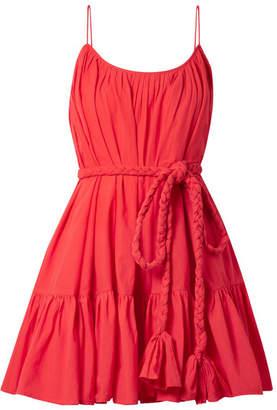 Rhode Resort - Nala Belted Pleated Cotton Mini Dress - Red