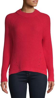 Lord & Taylor Petite High-Low Shaker Stitch Sweater
