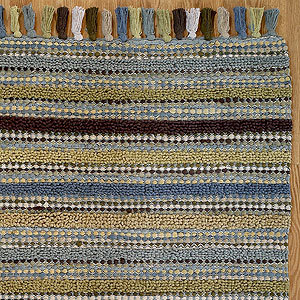 Teal/Brown Stripe Chunky Chenille Rug