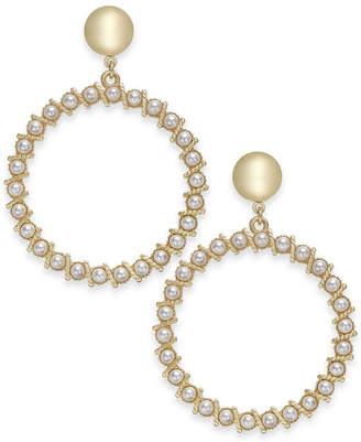"INC International Concepts I.n.c. Extra Large 2.75"" Gold-Tone Imitation Pearl Drop Hoop Earrings"