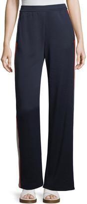 Tory Sport Wide-Leg Side-Stripe Jersey Track Pants