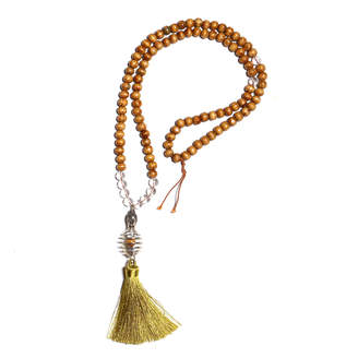 clear Zayra Mo Calming and Relief Quartz and Bead Necklace with Buddha Pendant