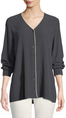 Eileen Fisher Contrast-Piping Silk Top, Petite