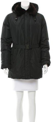 pradaPrada Fur-Trimmed Puffer Coat