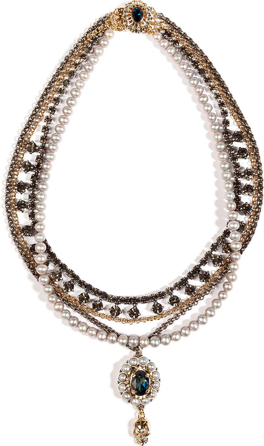 Mawi Antique Pearl and Crystal Necklace in Grey