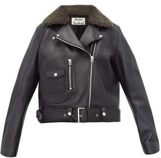 Acne Studios Merlyn Shearling Collar Leather Biker Jacket - Womens - Black