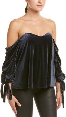 Do & Be DO+BE Do+Be Velvet Cold-Shoulder Top