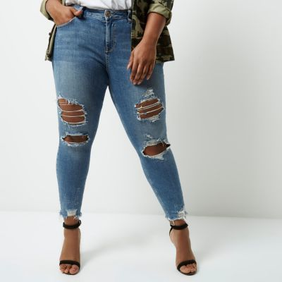 River IslandRiver Island Womens Plus blue frayed Alannah relaxed skinny jeans