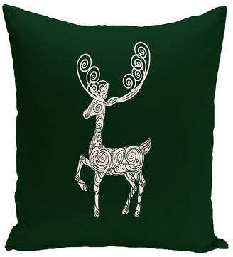 E By Design 16 Inch Dark Green Decorative Christmas Throw Pillow
