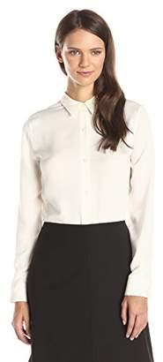 Theory Women's Tenia Silk Long Sleeve Button Down Blouse