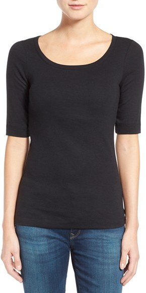 Women's Caslon Ballet Neck Cotton & Modal Knit Elbow Sleeve Tee