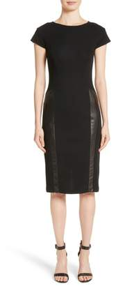 St. John Leather Panel Milano Pique Knit Dress