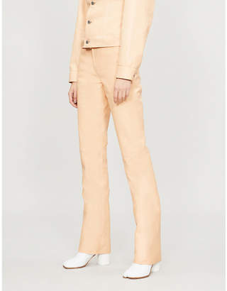Helmut Lang Straight high-rise leather trousers