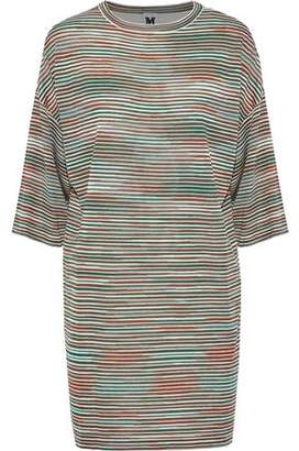 M Missoni Striped Crochet-Knit And Silk Crepe De Chine Mini Dress
