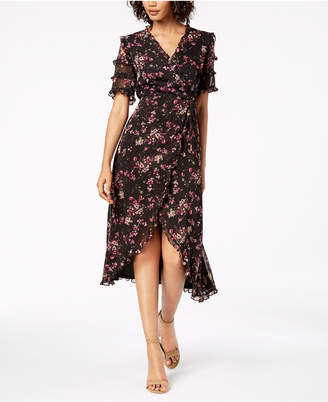 Kensie Floral-Print Ruffled Wrap Midi Dress