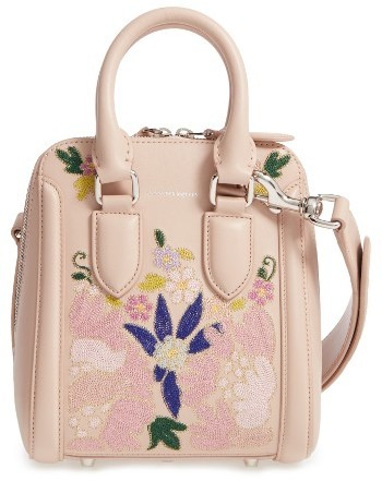 Alexander McQueen Alexander Mcqueen Small Heroine Flower Embroidered Leather Satchel - None