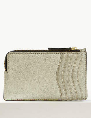 Marks and Spencer Leather Metallic Zip Detail Coin Purse