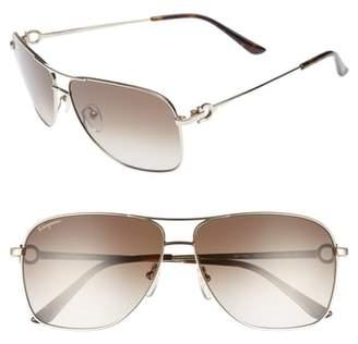 Salvatore Ferragamo Gancio 61mm Aviator Sunglasses