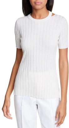 Helmut Lang Slash Neck Ribbed Wool Sweater