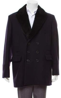 Burberry Shearling-Accented Virgin Wool Peacoat
