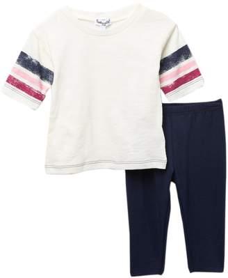 Splendid Roller Stripe Tee & Legging Set (Baby Girls)