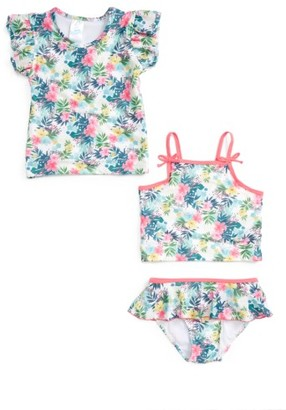 Toddler Girl's Sol Swim Floral Three-Piece Swimsuit $26 thestylecure.com
