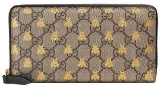 Gucci GG Supreme bees zip around wallet