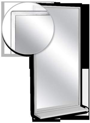 AJW U7058B-1830 Angle Frame Mirror & Mounted Shelf, No. 8 Stainless Steel Surface - 18 W X 30 H In.