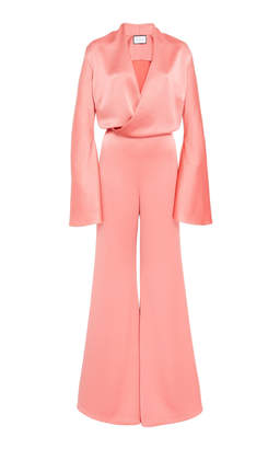 Alexis Raine Flared Duchess Satin Jumpsuit