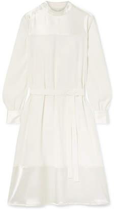 Co Satin-trimmed Crepe De Chine Dress