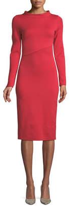 Emporio Armani Funnel-Neck Long-Sleeve Ponte Midi Dress
