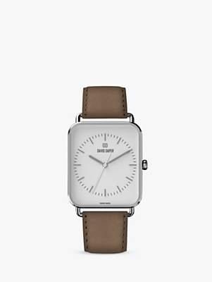 David Daper Unisex Rectangular Leather Strap Watch