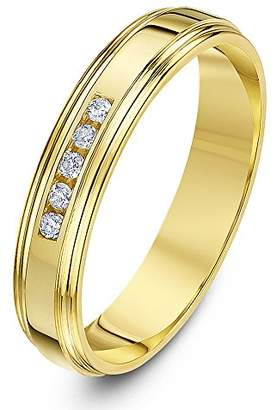 Theia 9ct Yellow Gold Court Shape 0.1ct Round Diamond Channel Set 4mm Eternity Ring - Size H