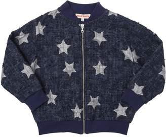 Stars Cotton & Lurex Knit Bomber Jacket
