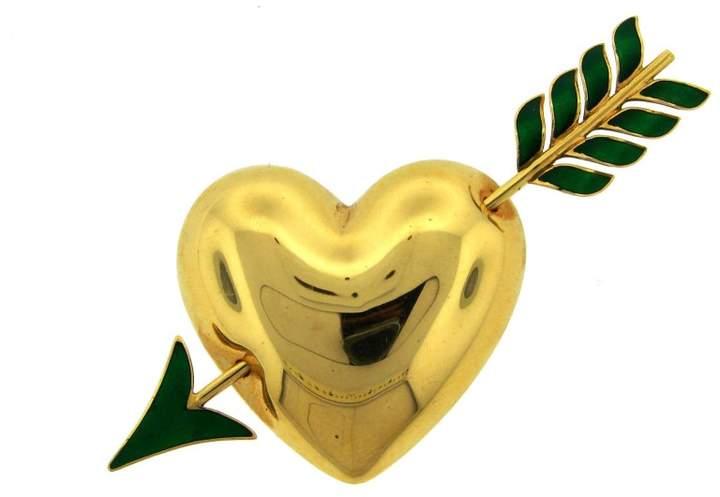 Van Cleef & ArpelsVan Cleef & Arpels Enamel and 18k Yellow Gold Heart and Arrow Pin Brooch