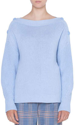 Akris Punto Oversize Wool/Cashmere Sweater with Button Shoulder Details