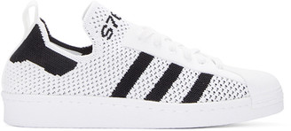 adidas Originals White Superstar 80s Primeknit Sneakers $120 thestylecure.com