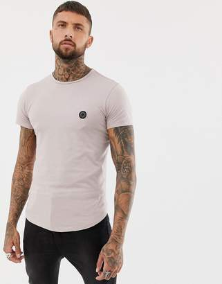 Religion muscle fit t-shirt with curved hem in ash pink