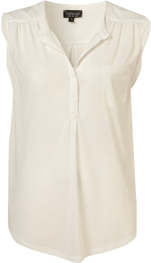 White Sleeveless Grandad Jersey Shirt