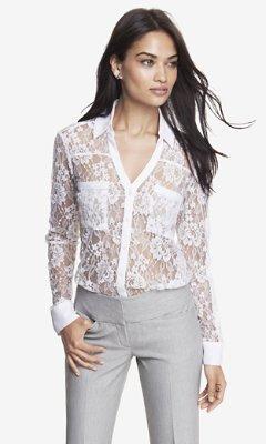 Express Victorian Lace Convertible Sleeve Portofino Shirt