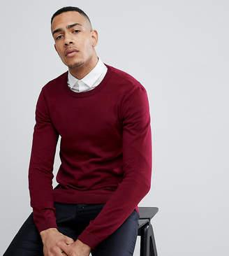 Asos DESIGN TALL Crew Neck Cotton Sweater In Burgundy