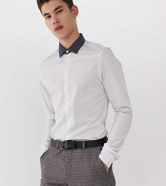 0d51e9483840d Asos Design DESIGN Tall skinny fit shirt in white with contrast navy polka  collar
