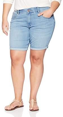 """Lee Indigo Women's Plus Size Modern Collection 8"""" Double Rolled Cuff Denim Short"""