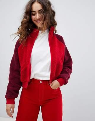 Monki Color Block Teddy Bomber Jacket
