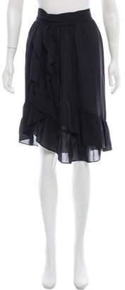 Isabel Marant Silk Ruffle-Trimmed Knee-Length Wrap Skirt
