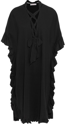 See by Chloé - Ruffled Cotton And Linen-blend Midi Dress - Black $450 thestylecure.com
